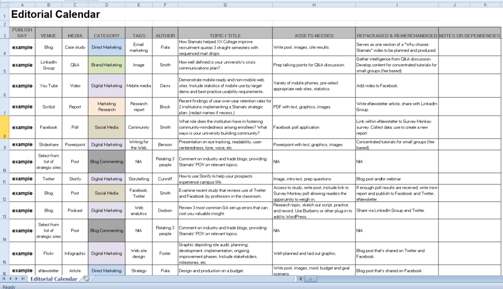 How To Structure An Editorial Calendar